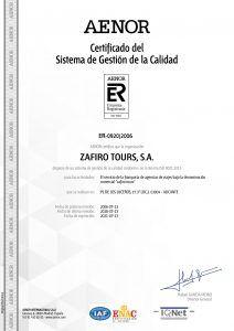 Certificado Aenor Zafiro Tours