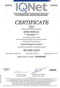 Certificado IQNet Zafiro Tours